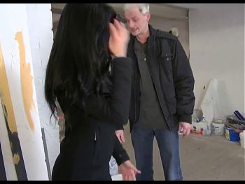 German Latina with fake tits fucks art teacher